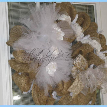 Burlap & Tulle Wedding Wreath With Lace And Rosettes Burlap Wedding Wreath Rustic Wedding Wreath Shabby Chic Wedding Wreath Barn Wedding