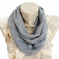 Grey Infinity Scarf, Antibacterial Yarn, Knitting Soft Unisex , Circle Scarf, Handknit, Women Accessories