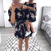 Family Matching Mother Daughter Printed Dresses