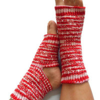 Yoga Socks Hand Knit in Red White and Pink Stripes Pedicure Pilates Dance
