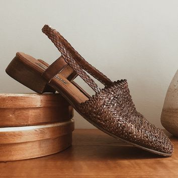 Vintage 1990's Woven Leather Slingbacks