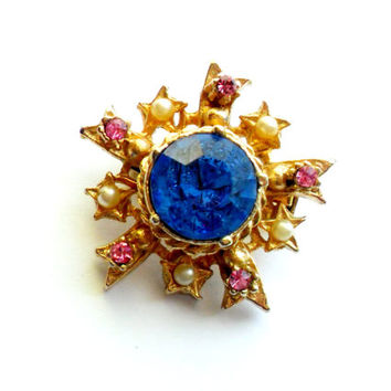 Vintage Coro Starburst Brooch Pink Blue Faux Pearl Gold Tone Rhinestone Scatter Pin Heavy Petite