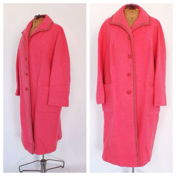Vintage 1960s Lang's Flamingo Pink Bouclé Wool Coat Outerwear Winter Coat Mad Men Medium Large Peacoat 60s Hot Pink Swing Coat