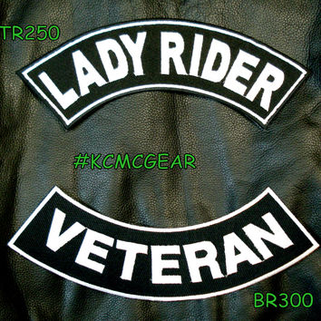 Military Biker Patch Set Lady Rider Veteran Embroidered Patches Sew on Patches for Jackets