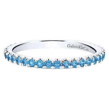 14K White Gold Blue Topaz Stackable Birthstone Ring