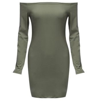Chic Off The Shoulder Long Sleeve Pure Color Sheathy Bodycon Women Dress