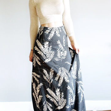 Sundara Maxi - High Waisted Maxi Skirt - in Heathered Grey - By Simka Sol - Hand Printed Maxi Skirt