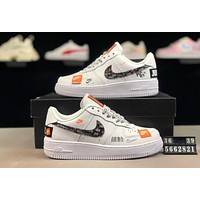 NIKE Air Force 1 Just Do It AF1 joint stitching men and women low-top sports shoes white