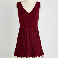 Americana Mid-length Sleeveless A-line Personal Essayist Dress in Merlot