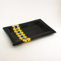 Unique Decorative Tray, Colorful Platter, Fused Glass Serving Dish, Modern Design, Wedding Gifts for Couples, Cool Kitchen Accessories