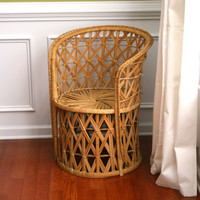 Vintage Rattan Chair. Summer Home Decor. Wicker. Geometric. Mid Century. Outdoor Alfresco Seating. Boho. Bohemian Chic. Rhapsodyattic.