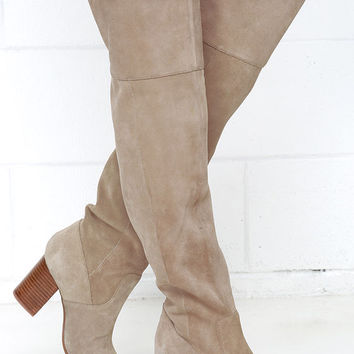 Jessica Simpson Ebyy Taupe Suede Leather Over the Knee Boots