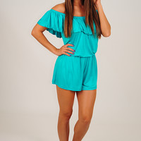 You Need Me Romper: Turquoise