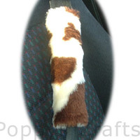 faux fur brown and cream cow print fuzzy car seatbelt pads fluffy fuzzy car covers 1 pair