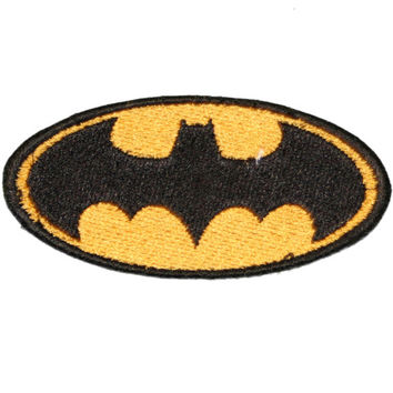 BATMAN Logo Iron On Embroidered Applique TV and Movie Characters Gold and Black 3""