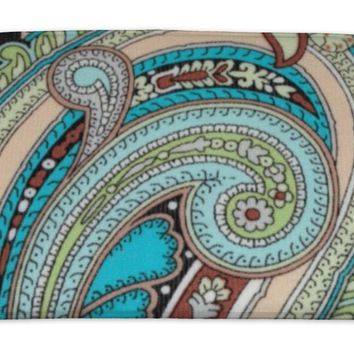 Bath Mat, Colorful Vintage Fabric With Blue And Brown Paisley Print