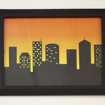 8x10 - Cityscape Silhouette Against a Sunset Sky Print - Ready to Frame