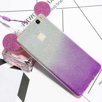 Cute Mickey Minnie Mouse Ears Gradient Glitter Powder Phone Cases For Huawei P8 P9 Case Clear Soft TPU GEL Silicon Cover Lanyard
