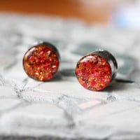 Fall Leaves Ear Gauges, Autumn Plugs, Fire Gauges, Fall Foliage, Orange Gauges - sizes 0g, 00g, 7/16, 1/2, 9/16, 5/8, 3/4, 7/8, 1""