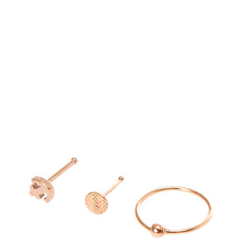 Rose Gold Toned Anchor Nose Ring