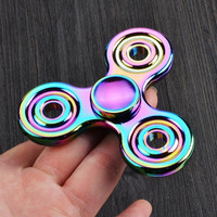 Rainbow Tri-Fidget Hand Spinner Colorful EDC Gyro Toys Hand Spinner Fidget Aluminum HandSpinner Professional Factory Direct Sales