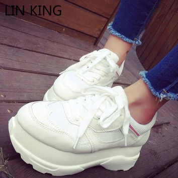 LIN KING New Brand Women Casual Shoes Round Toe Thick Sole Lace Up Platform Shoes Solid PU Low Top Massage Outdoor Leisure Shoes