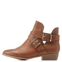 Chestnut Bamboo Double-Belted Flat Booties