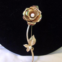 Estate Faux Pearl Large Gold Plate Rose Flower Leaves Vintage Pin 1960's
