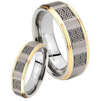 His Hers Step Edge Multipe Square Celtic 14K Gold 2 Tone Tungsten Wedding Rings Set