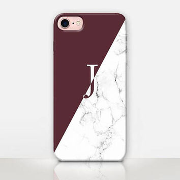 Maroon Monogram Phone Case  For- iPhone 8 - iPhone 7 - iPhone 7 Plus - iPhone SE - iPhone 5  - iPhone X  - Catching Rainbows - CRCases