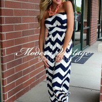 Top Notch Navy Chevron Tube Top Maxi Dress