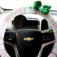 Pink John Deere Steering Wheel Cover with Your choice of Bow