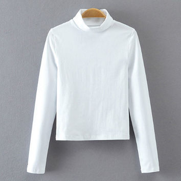White Turtleneck Plain Stretchy Crop Sweater