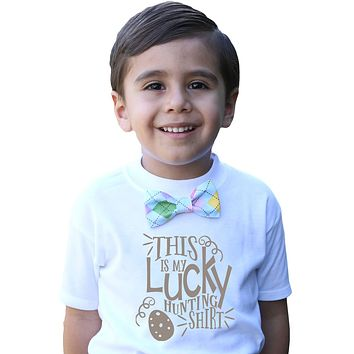 Boys Easter Shirt with Bow Tie and Cute Saying