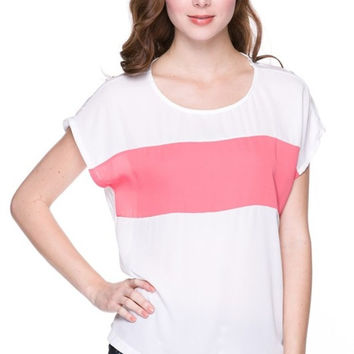 Oversized Color Block Woven Top