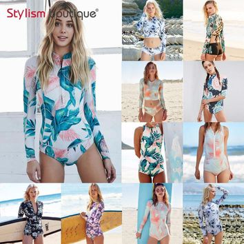 2018 Long Sleeves Rash Guard Women Surf Swimwear Floral Leaf One Piece Swimsuit for Diving Swimming Suit Rashguard Wetsuits