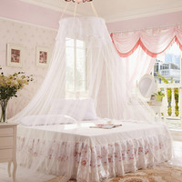 White Princess Style Lace Canopy Dome Mosquito Net