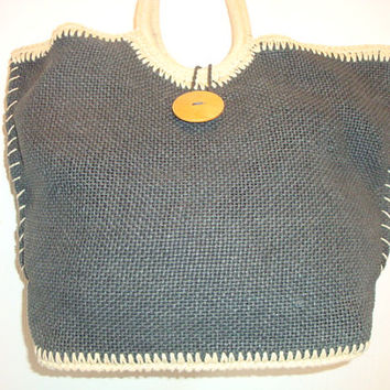 Free Ship vintage TALBOTS woven raffia straw GRAY Satchel Wood button large bAG Purse handbag