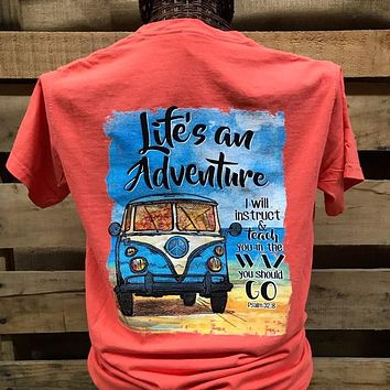 Southern Chics Life is an Adventure Christian Comfort Colors Girlie Bright T Shirt