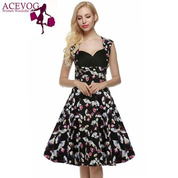 Retro Vintage 1950s Lady Elegant Women V-Neck High Waist Sleeveless Casual Party Midi Pleated Dress
