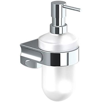 Sonia S1 Wall Mounted Frosted Glass Pump Soap Lotion Dispenser for Bath, Brass