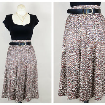leopard print slinky high waist 1970s draped midi boho jungle cat skirt vintage neutral black