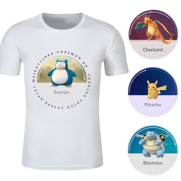 pokemon go men t-shirt pokemon go shirt  pikachu charizard snorlax newtwo figures t shirt male tops and tees costume
