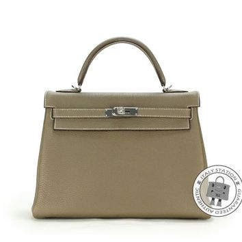 Authentic New Hermes Kelly 32 Etoupe Togo Tote Bag Phw