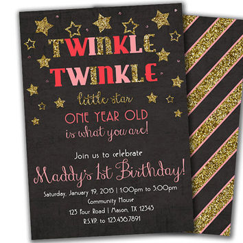 Pink Star 1st Birthday Invitation Girl - Pink and Gold Twinkle Twinkle Little Star- 1st Birthday Invite - Girls 1st Birthday - Silver Glitz