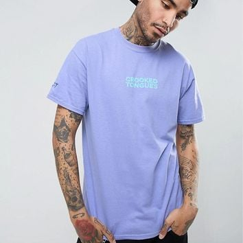 Crooked Tongues Gildan T-Shirt In Purple With Large Logo at asos.com