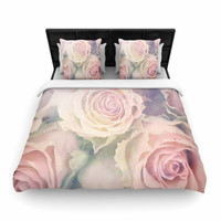 "Suzanne Carter ""Faded Beauty"" Blush Floral Woven Duvet Cover"