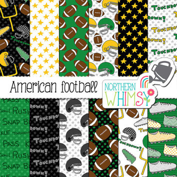 "Football Digital Paper - ""American Football"" - sports scrapbook paper with footballs, helmets, cleats & goalposts - commercial use"