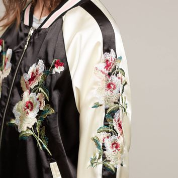 Embroidered Floral Bomber