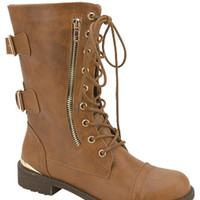 TIMBERLY LACE UP BOOTS-BROWN